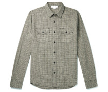 Checked Cotton and Linen-Blend Overshirt