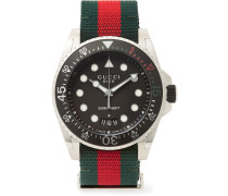 Gucci Dive 45mm Stainless Steel And Webbing Watch - Black