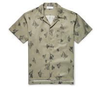 Camp-collar Printed Tencel-twill Shirt