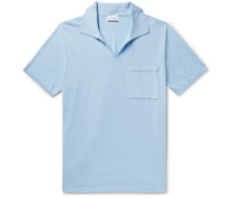 Slim-fit Embroidered Cotton-jersey Polo Shirt - Sky blue