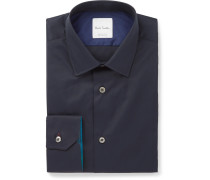 Navy Slim-fit Cotton-poplin Shirt - Navy