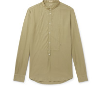 Grandad-Collar Poplin-Trimmed Twill Half-Placket Shirt