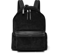 City Leather-trimmed Corduroy And Canvas Backpack