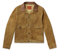Leather-trimmed Suede Jacket - Brown