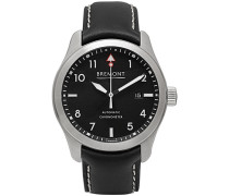 Solo/wh Automatic 43mm Stainless Steel And Leather Watch - Black