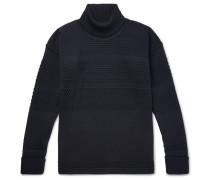 Fisherman Textured-knit Merino Wool Rollneck Sweater - Navy