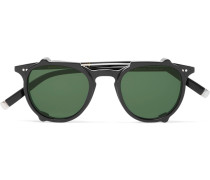 Jared Round-frame Acetate Optical Glasses With Clip-on Uv Lenses