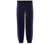 Slim-fit Tapered Stripe-trimmed Wool Sweatpants