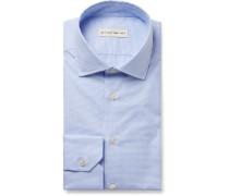Light-blue Slim-fit Puppytooth Cotton-poplin Shirt - Light blue