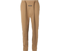 Tapered Nylon-trimmed Loopback Cotton-jersey Sweatpants - Brown