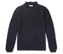 Mock-Neck Basketweave Linen and Silk-Blend Sweater