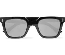 Square-frame Acetate Mirrored Sunglasses - Black
