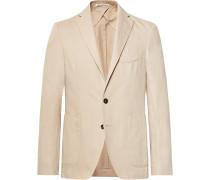 Beige Ross Slim-fit Unstructured Cotton And Linen-blend Suit Jacket - Beige