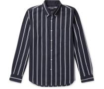 Slim-Fit Button-Down Collar Striped Cotton-Twill Shirt