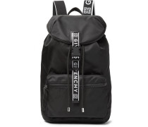 Leather-trimmed Nylon Backpack - Black