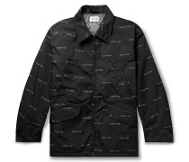 Oversized Logo-Print Nylon-Twill PrimaLoft Field Jacket
