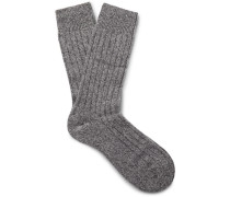 Waddington Ribbed Mélange Cashmere-blend Socks - Gray