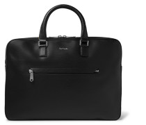 Contrast-tipped Textured-leather Briefcase - Black