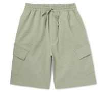 Cody Wide-leg Stretch-cotton Seersucker Cargo Shorts