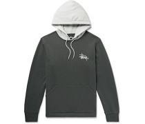 Two-tone Logo-print Loopback Cotton-jersey Hoodie - Gray