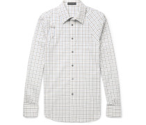Slim-fit Harness-detailed Checked Brushed-cotton Shirt