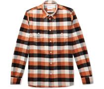 Villads Checked Brushed Cotton-flannel Shirt - Orange
