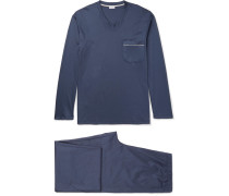 Mercerised Cotton-jersey Pyjama Set - Navy