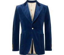 Royal-blue Slim-fit Stretch Cotton And Modal-blend Velvet Blazer