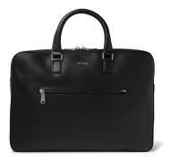 Contrast-Tipped Textured-Leather Briefcase