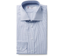 Storm-blue Checked Cotton-poplin Shirt - Storm blue