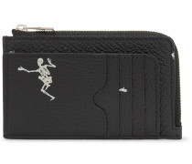 Printed Full-grain Leather Zipped Cardholder - Black
