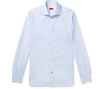 Slim-fit Cutaway-collar Pinstriped Linen And Cotton-blend Shirt - Blue