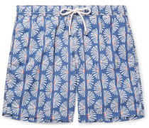 Mid-length Printed Swim Shorts - Blue