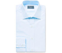 Sky-blue Slim-fit Cotton Oxford Shirt - Blue