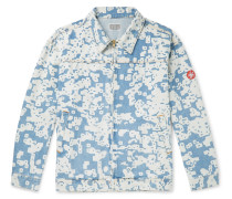Noise Printed Denim Blouson Jacket - Light blue