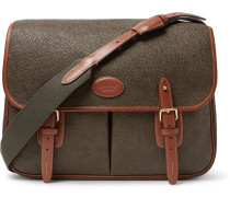 Heritage Leather-trimmed Pebble-grain Coated-canvas Messenger Bag - Army green