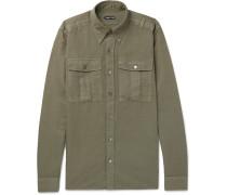 Slim-fit Button-down Collar Linen And Cotton-blend Shirt