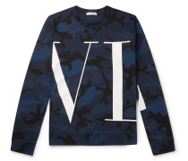 Logo And Camouflage-print Loopback Cotton-blend Jersey Sweatshirt - Blue