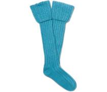 Cable-Knit Stretch Cashmere-Blend Socks