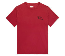 Logo-embroidered Cotton And Silk-blend T-shirt - Red