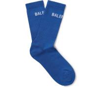 Logo-intarsia Stretch Cotton-blend Socks - Blue