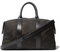 Leather-Trimmed Camouflage-Print Canvas Holdall