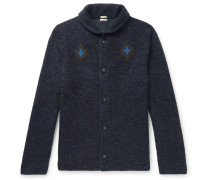 Slim-Fit Intarsia Cashmere, Mohair and Silk-Blend Cardigan