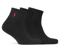 Three-pack Cotton-blend Socks - Black