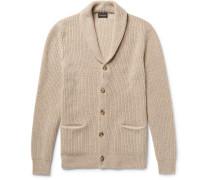 Slim-fit Shawl-collar Ribbed Merino Wool Cardigan