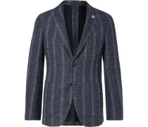 Slim-Fit Unstructured Striped Herringbone Cotton-Blend Blazer