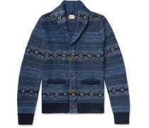 Indigo Shore Slim-fit Shawl-collar Cotton-blend Jacquard Cardigan - Indigo