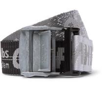 3.5cm Tonal-Grey Industrial Logo-Jacquard Webbing Belt