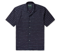 Camp-collar Striped Slub Cotton-blend Shirt