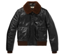 Shearling-trimmed Leather Flight Jacket